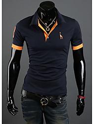 Men's Shirt Collar T-Shirts , Cotton Blend Short Sleeve Vintage Embroidery All Seasons HI MAN