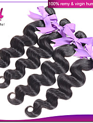 4Pcs 100% Indian Human Hair Weaves Indian Virgin Body Wave Hair Natural Black Color Unprocessed Body Wave