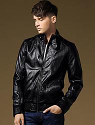 chaqueta de lana de añadir dispositivo explosivo abrigo de cuero de la PU de los hombres
