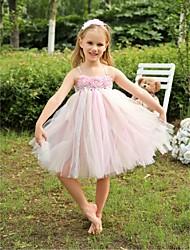 Flower Girl Dress Tea-length Tulle A-line Sleeveless Dress(Headpiece Include)