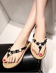 Women's Shoes Polyester Flat Heel Flip Flops Sandals/Slippers Outdoor/Casual Black/Blue/White