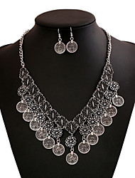 Vintage Style Zinc Alloy Clover Pattern Jewelery Set(Earrings & Necklace)