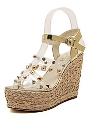 Women's Shoes Synthetic Wedge Heel Wedges/Open Toe Sandals Casual Silver/Gold
