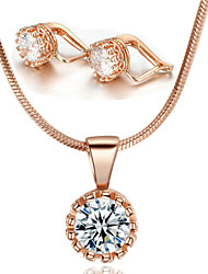 T&C Women's Classic Crown Style 18k Rose Gold Plated Swiss Cubic Zircon Stone Pendant Necklace Earrings Set