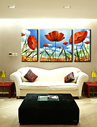 Oil Painting Decoration Flower Hand Painted Canvas with Stretched Framed - Set of 3