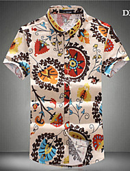Men's Casual/Work/Formal/Plus Sizes Print Short Sleeve Regular Shirts (Cotton Blends)