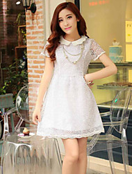 Women's White Dress , Casual Cowl Short Sleeve Lace/Hollow Out