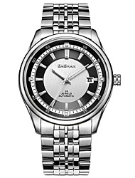 easman homens de design relógios de marca preto de aço inoxidável grande forma redonda automático de auto-liquidação relógio de pulso