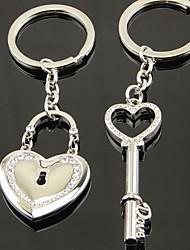 Paris Rhinestone heart-shaped Lovers Lock Key Chain Ring Keyring