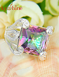 Lucky Shine Women's Men's Unisex 925 Silver Unique Square Fire Multi-Colored Mystic Topaz Gemstone Rings