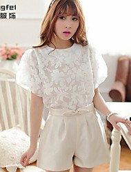 Women's Solid White Blouse , Crew Neck Short Sleeve Beaded/Embroidery