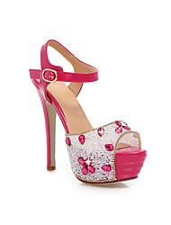 Feminino Wedding Shoes Saltos/Peep Toe Sandálias Casamento/Social/Festas & Noite Vermelho/Branco/Prateado/Dourado