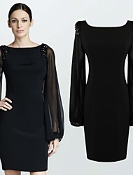 Women's Solid Color Black Dresses , Bodycon / Casual / Lace Round Long Sleeve