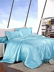 Mingjie gelo de água de seda azul lixar cama conjuntos 4pcs define capa de edredão queen size e king size