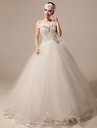 Ball Gown Wedding Dress - Ivory Floor-length Jewel Organza/Tulle