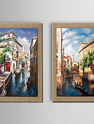 Oil Painting Decoration Landscape Architecture Hand Painted Natural linen with Stretched Framed - Set of 2