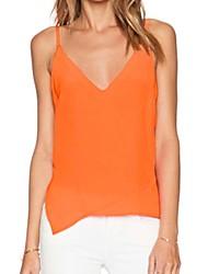QIANSILU  Women's Casual Sleeveless Vests (Chiffon)