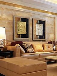 картина маслом современного абстрактного ручной росписью естественный белье с растянутыми оформлена - набор из 2