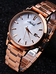 Ladies' Round Simple Luxury Fashion Imported Steel Case Dial Mineral Stainless Steel Band Waterproof Quartz Watch