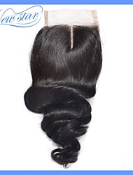 2015 Fashion Products New Star Brazilian Loose Wave Curl Human Hair Middle Part Lace Closure 4*4 Bleached Knots