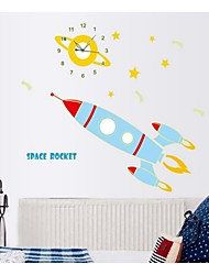 Cartoon Luminous Clock Stickers Stick A Small Rocket School Children Room Decoration