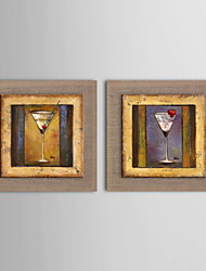 Oil Painting Modern Abstract Wineglass Hand Painted Natural Linen with Stretched Framed - Set of 2