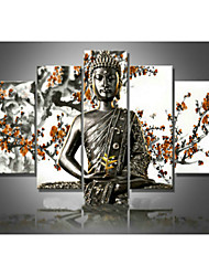 Hand-Painted Wall Art Religion Buddha Oil Painting on Canvas Green 5pcs/set No Frame