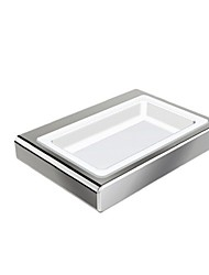 Bathroom Wall Mounted Chrome Finished Soap Dish Holder with Cermica Dish