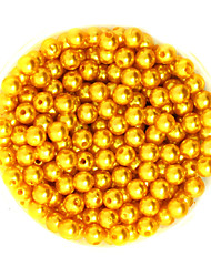 Beadia 100g(Approx 1000Pcs)  ABS Pearl Beads 6mm Round Gold Yellow Color Plastic Loose Beads For DIY Jewelry Making