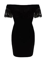 Women's Eyelash Lace Top Bardot Mini Dress