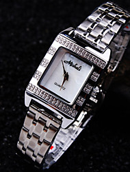 Ladies' Square A Grade Czech Stones Imported Steel Case Dial Mineral Stainless Steel Band Waterproof Quartz Watch