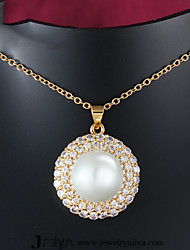 Gold Plated Fashion Pearl/Zircon Pendant Necklaces Party/Daily