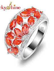 Lucky Shine Women's Men's Unisex 925 Silver Full Fire Red Quartz Crystal Gemstone Rings For Holiday Gift