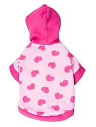 Cat / Dog Coat / Hoodie Pink Dog Clothes Winter Hearts Cosplay