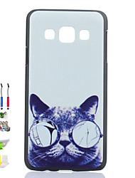 cat Glas-Muster schwarz matt pc phone case und Staubstecker Stift Stifthalter Kombination für Samsung-Galaxie a3