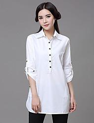 Women's Casual/Cute/Work/Plus Sizes Preggy Style Elegent Long Sleeve Long Shirt (Cotton)
