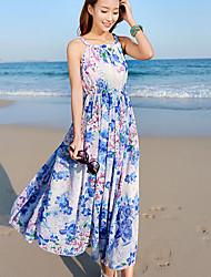 Women's Vintage Beach Micro Elastic Sleeveless Maxi Dress (Chiffon)