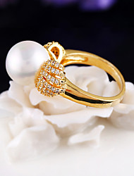 Gorgeous Women's Gold Plated Alloy with Crystals and Pearls Wedding Jewelry Cubic Zirconia Ring (with Gift Box)