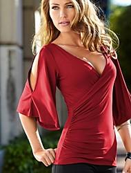 Damen Solide T-Shirt - Polyester ½ Länge Ärmel V-Ausschnitt