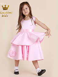 Girl Pink Satin Sleeveless Floral Party Dress