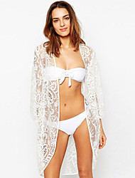 Women's Sexy Summer Longline Structured White Lace Kimono