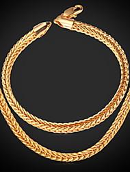 u7® joyería de los hombres regalos frescos cadena de cola de zorro plateado oro verdadero 18k de alta calidad de la moda 8 'de la pulsera