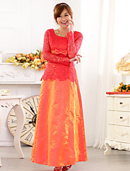 Women's Plus Size Lace Floor-length Bridesmaid Dress/ Wedding Party Dress
