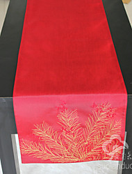 Fir Branch Embroidery Faux Silk Table Runner Table Decoration