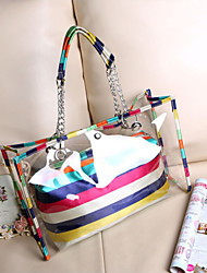 Handcee® Fashion Woman PU Transparent Cute Color Beach Bag