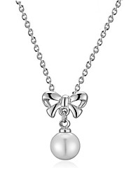 T&C Women's Cute Bowknot Simulated Pearl Beads Party Chain Pendants & Necklaces 18K White Gold Plated Jewelry