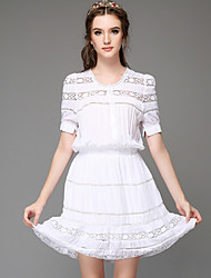 Women Clothing Fashion Vintage Casual Embroidery Hollow Out Lace Party Plus Sizes Short Sleeve Dress