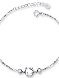 Jazlyn Authentic Platinum Plated 925 Sterling Silver Woman Kids Hello Kitty Link Chain Bracelet Gift
