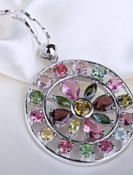 S925 Sterling Silver Natural Brazil Tourmaline Round Flower Pendant Seeds Chain Necklace