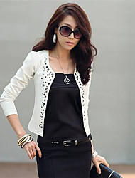 Women's Long Sleeve Blazer , Cotton Blends Regular Casual